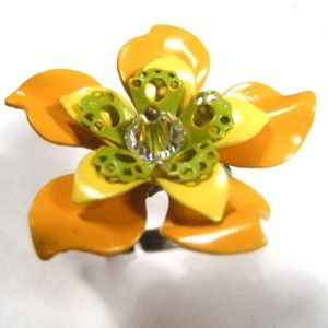 Jewelry - Vintage Style Yellow Enamel Flower Adjustable Ring